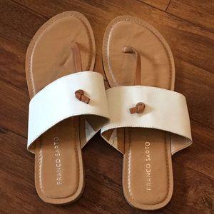 White & Tan Franco Sarto Sandals